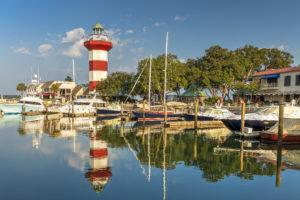 Harbor with lighthouse on Hilton Head Island